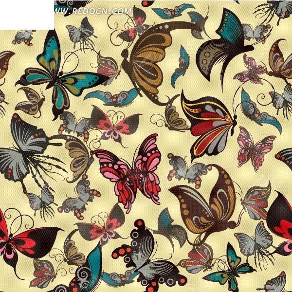 黄底色上的蝴蝶图案图片