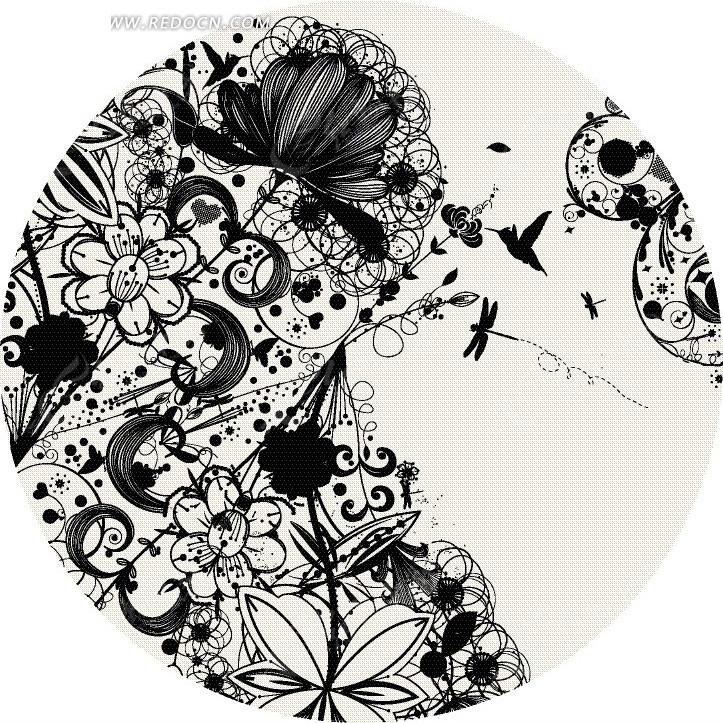 手绘精美黑色植物花纹设计图片; 圆形单色飞舞花丛中的蜻蜓与蜂鸟eps