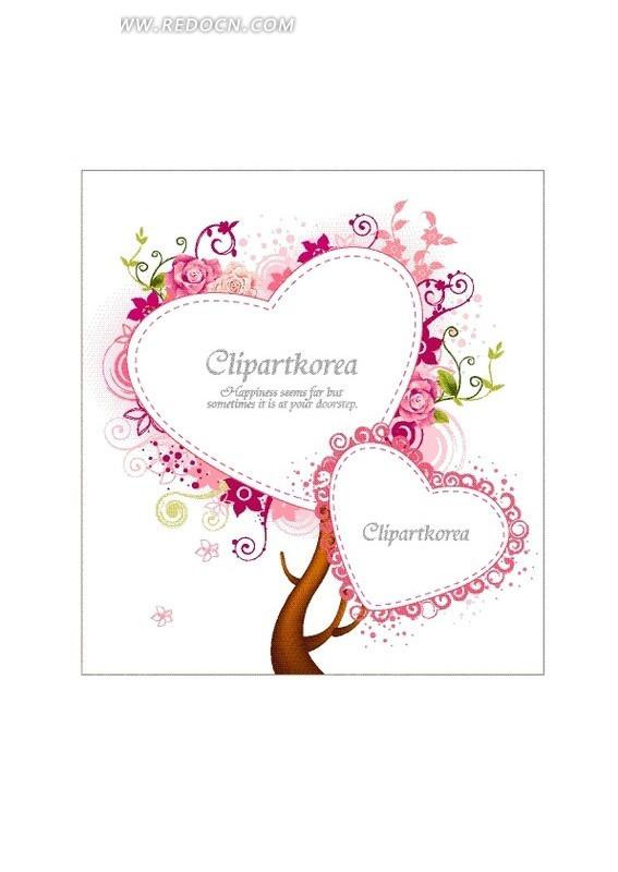 心形小树图案爱情卡片素材