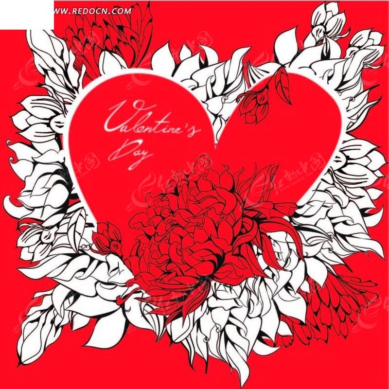 手绘红色花朵爱心和白色叶子背景