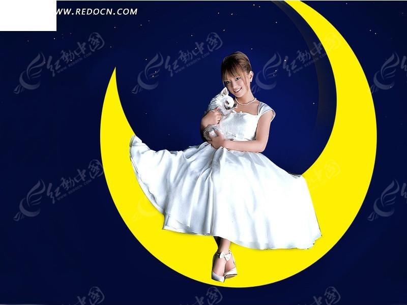 月亮美女艺术_坐着 天空 月亮 女人 女性 人物 psd分层素材 人物素材 人物图片