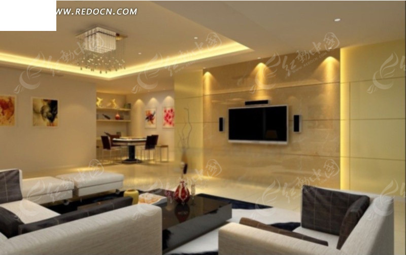 免费素材 3d素材 3d模型 室内设计 > 现代简约客厅内沙发到餐边柜角度图片