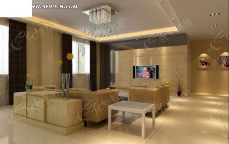 简约大气客厅内沙发边桌到电视墙方向效果图高清图片