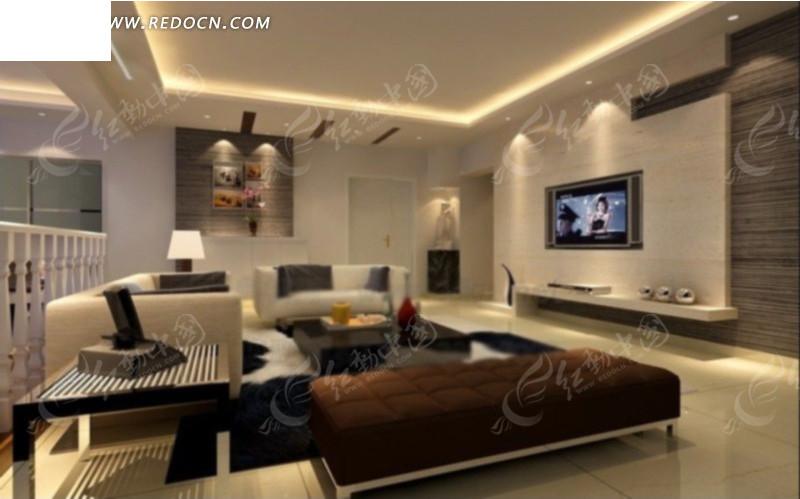 下载 灰色调现代简约客厅效果图3d模型 max 高清图片