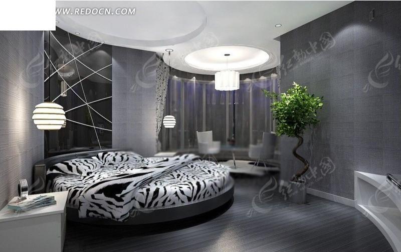 灰色个性创意卧室设计效果图_室内设计