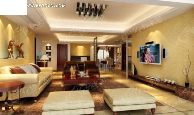 客厅内钢琴方向的设计效果图