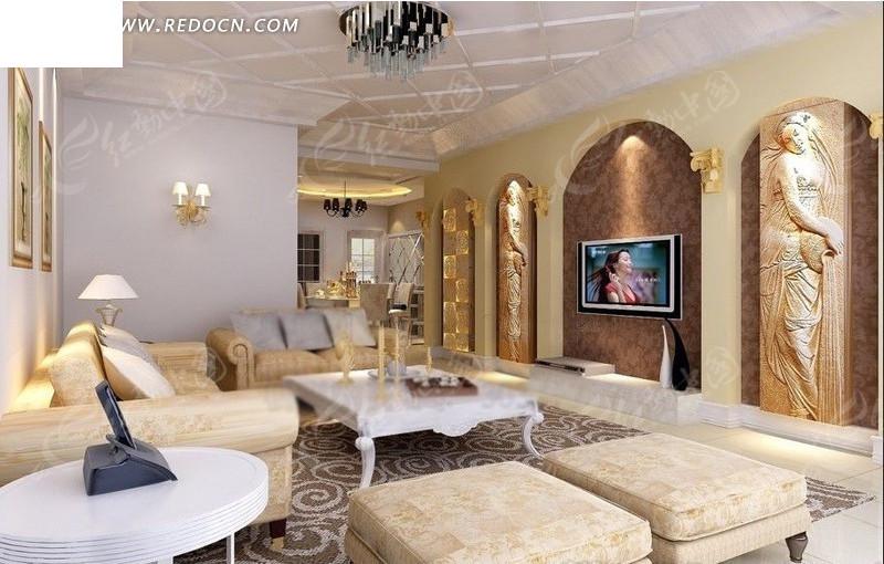 欧式客厅内沙发到餐厅方向的设计效果图图片