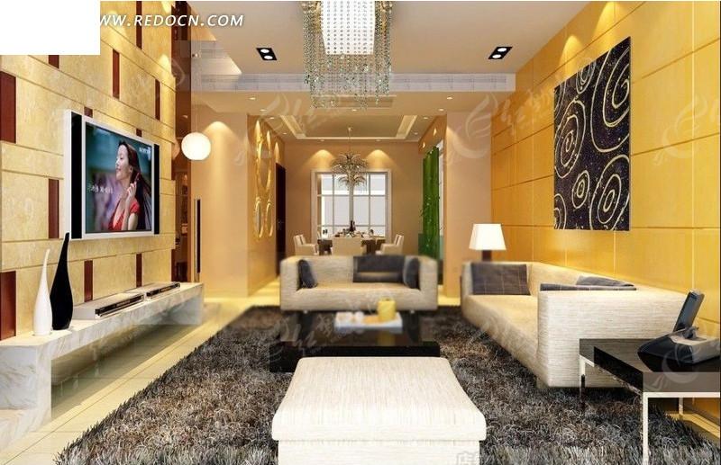 豪华现代客厅内餐厅方向的效果图