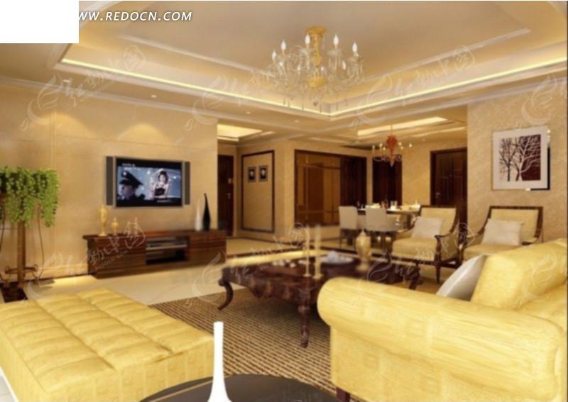 客厅内沙发边桌到玄关方向的3d效果图