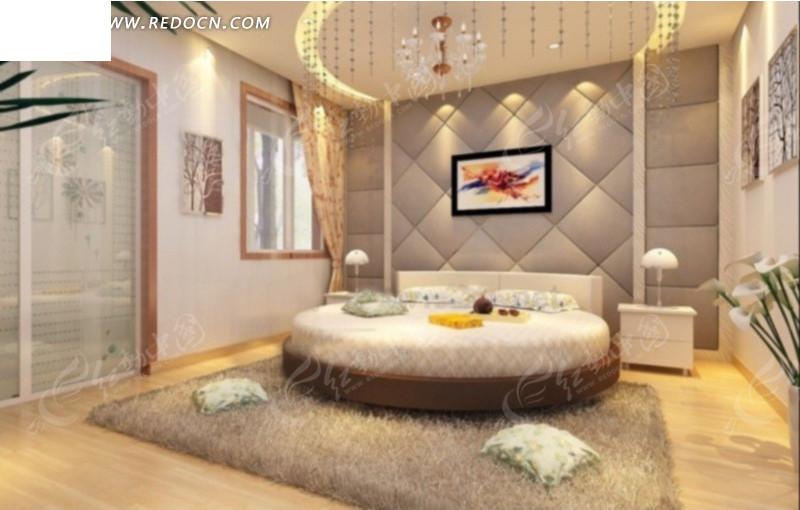 豪华时尚卧室内床头软包背墙侧角度效果图