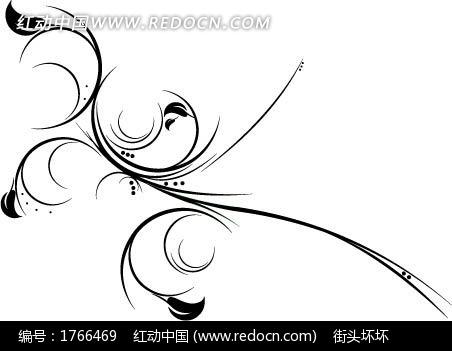 树叶花边边框简笔画-黑色动感藤蔓叶子花纹矢量图