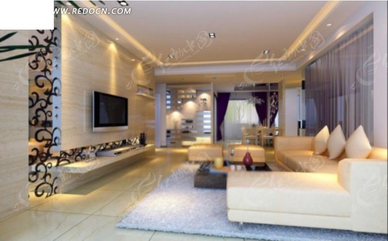 电视墙侧方向的客厅装修设计效果图