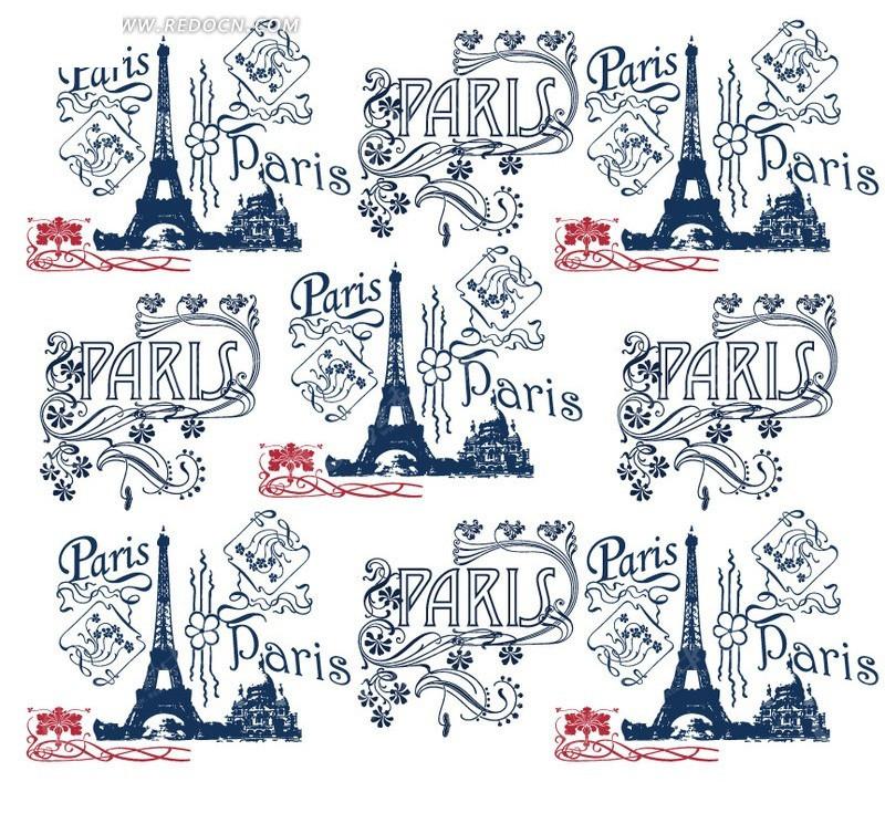 巴黎铁塔 巴黎铁塔 手绘花纹  生活百科 矢量素材