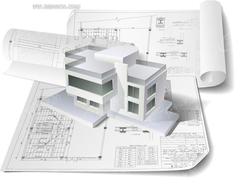 建筑模型和图纸矢量素材