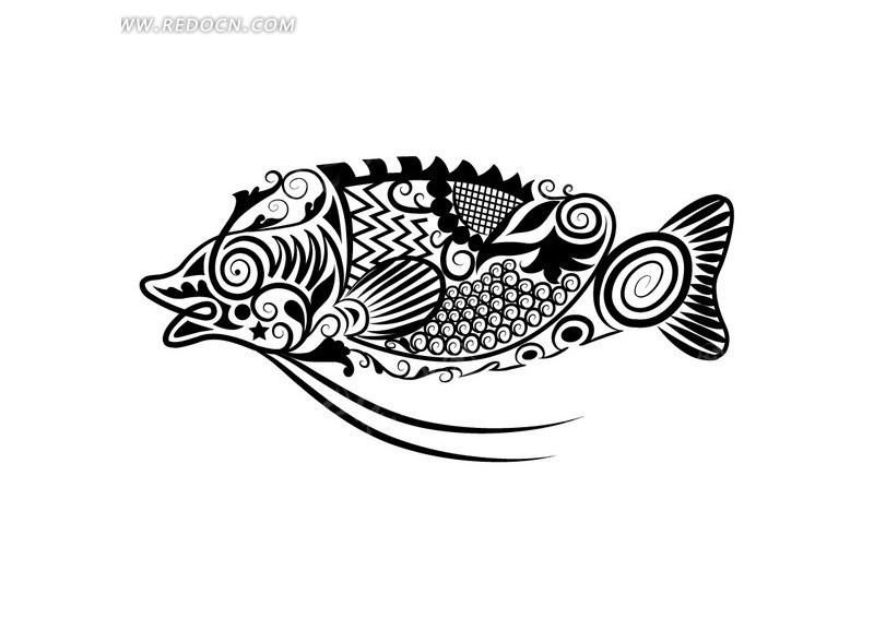 卡通线条手绘花纹鱼矢量素材图片