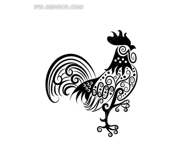 卡通线条手绘大公鸡矢量素材