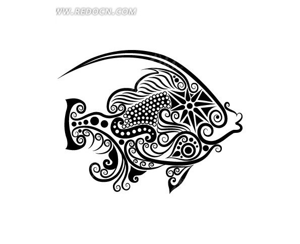 卡通鱼简笔画-手绘卡通画矢量素材