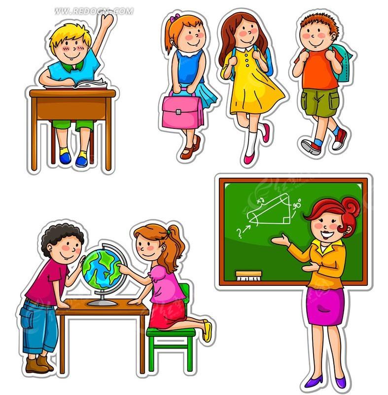 卡通小学生跟老师矢量素材