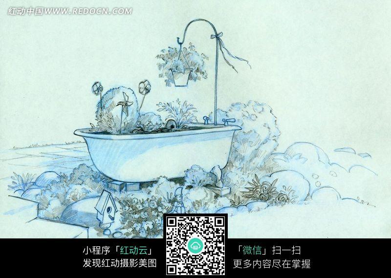 手绘院里的浴缸图片