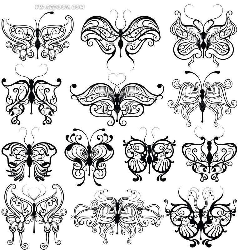 各种手绘蝴蝶矢量素材