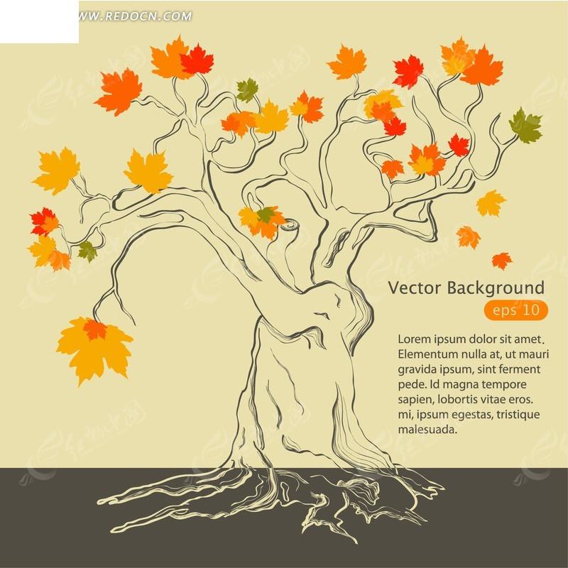 精美手绘线条树木矢量素材