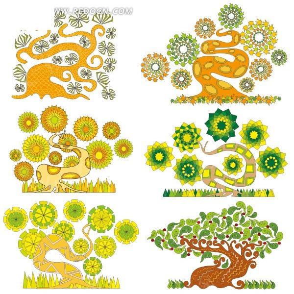 弯曲的创意手绘树矢量素材矢量图_花草树木;