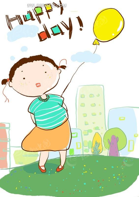 拿气球的小女孩儿童插画psd免费下载_卡通人物素材