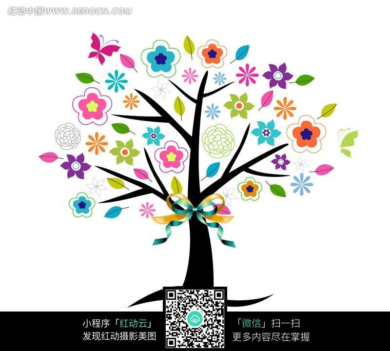 插画 大树 彩色鲜花 彩色插画 插画素材 图片素材 绘画 艺术 工艺品图片