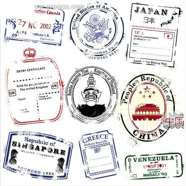 免费素材 矢量素材 花纹边框 其他 几个国家邮戳