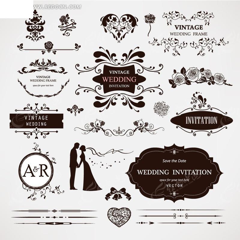 欧式婚礼主题矢量素材图片