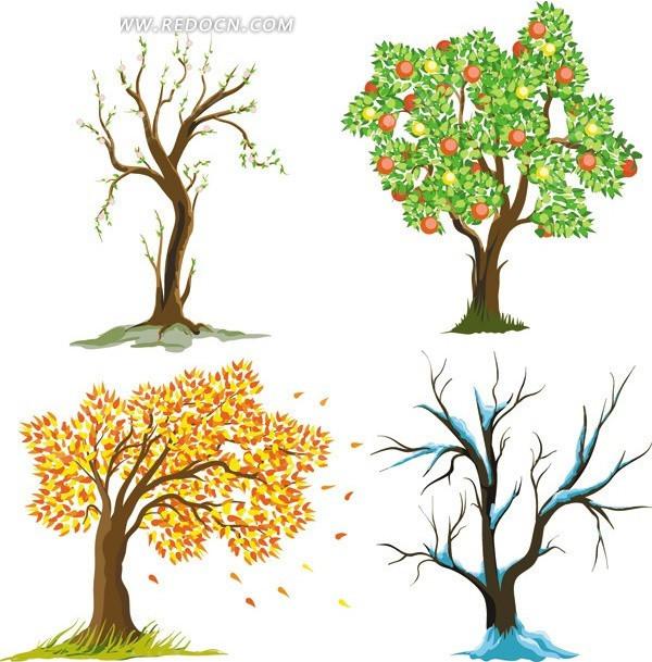 创意卡通树木集矢量图