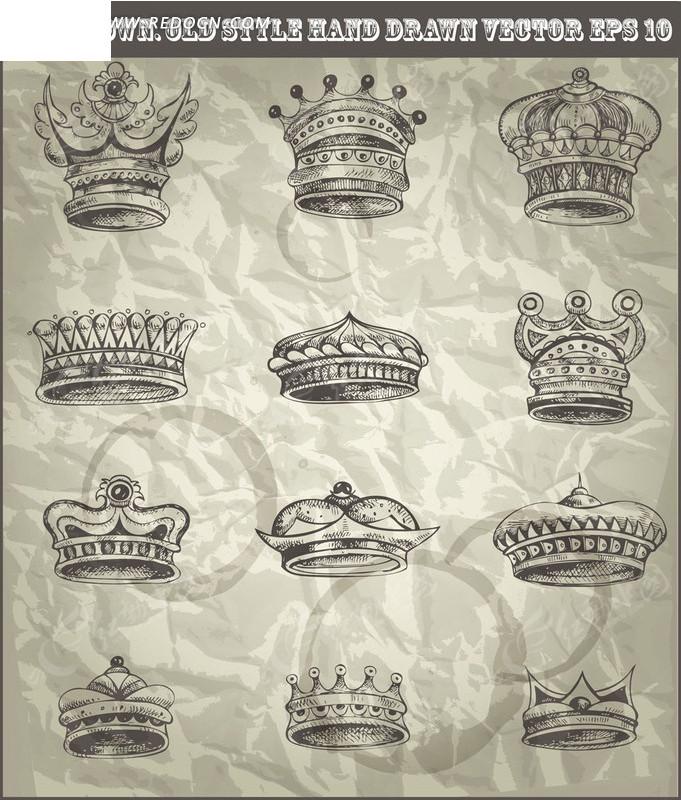 手绘皇冠矢量素材