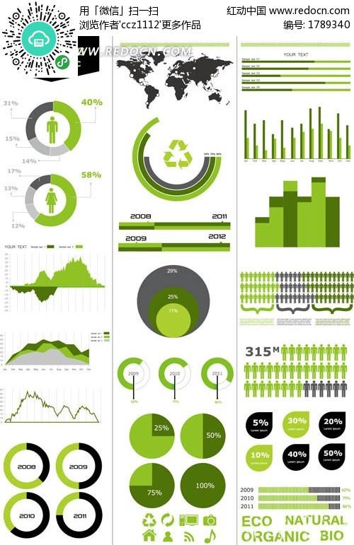 创意绿色信息统计图图片