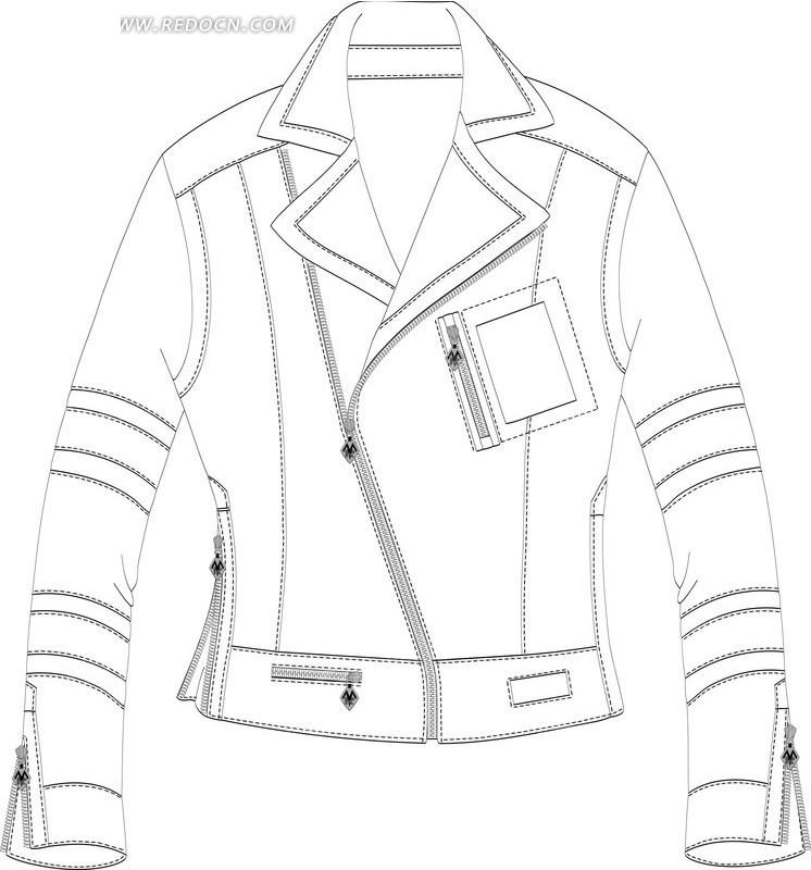 服装款式图手绘夹克衫