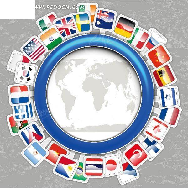 创意地球国旗设计; 创意国旗包围的地球;; 美国国旗元素