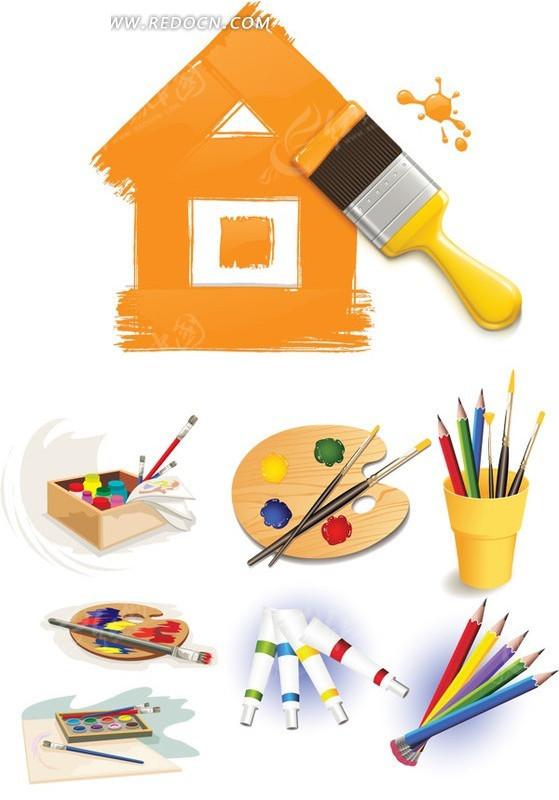油漆涂料画笔矢量素材图片