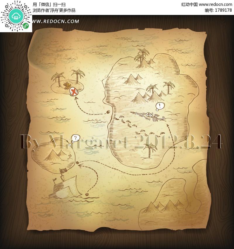 手绘宝藏地图图片