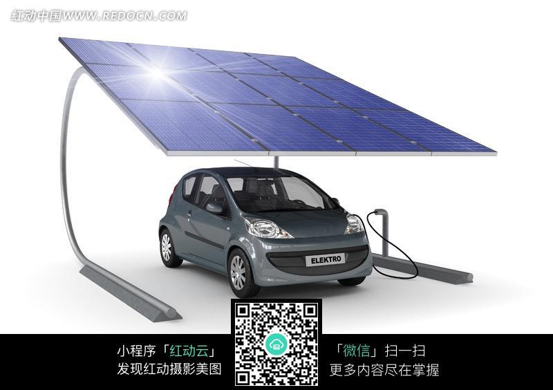 正在用太阳能充电的灰色汽车图片