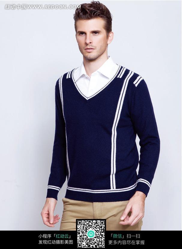 人物图片 男性男人 穿蓝色羊毛衫的平面男模特  请您分享: 素材描述