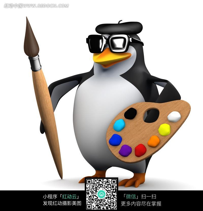 拿画笔画板戴墨镜的企鹅图片