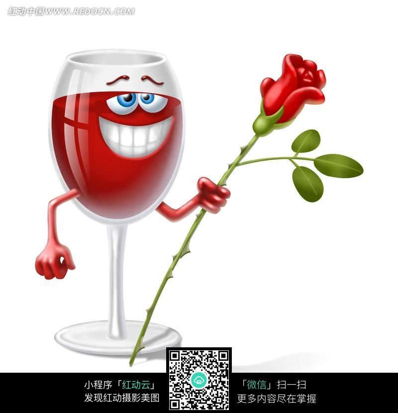 手拿玫瑰花的红酒杯