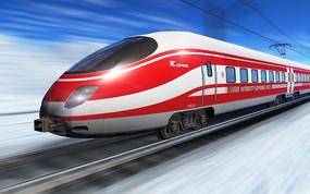 正在飞驰的红色电气列车