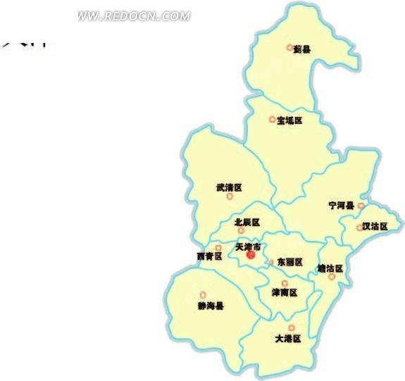 天津市区级矢量图矢量图