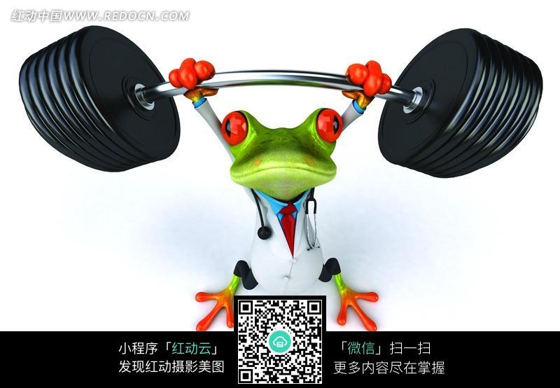 正在举重的绿色青蛙图片