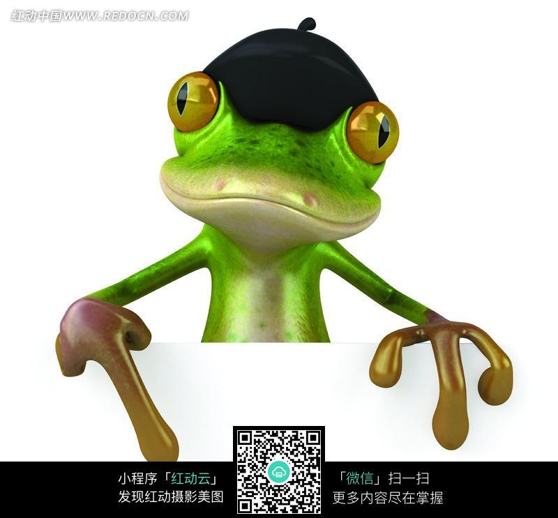 免费素材 图片素材 漫画插画 动物 指着空白广告牌的绿色青蛙