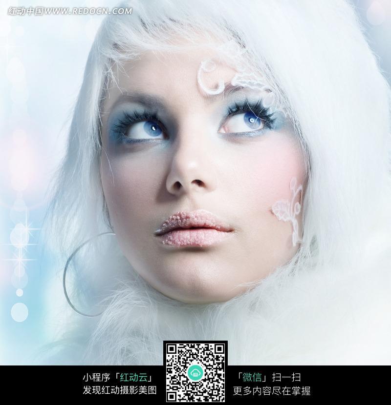 白发梦幻时尚美女模特人物高清摄影图片