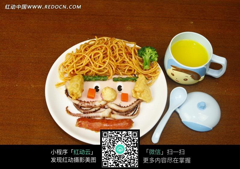 食物摆成的人脸肖像儿童餐图片其他_餐饮美食_图片素材