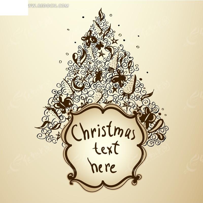 米色 圣诞 贺卡 手绘 卡通 圣诞节 吊饰 圣诞夜 平安夜 节日素材 矢量