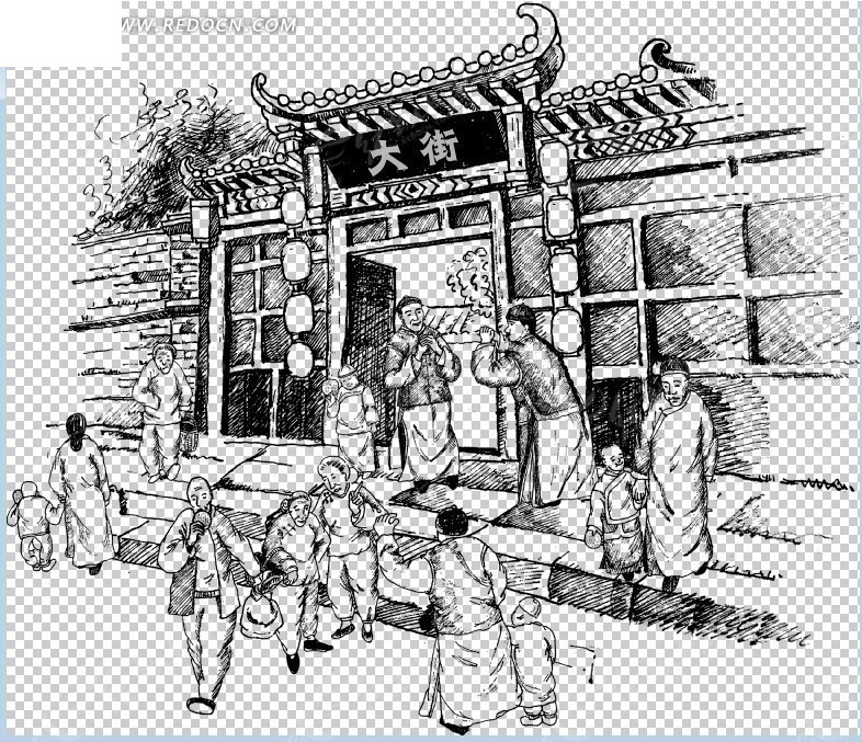钢笔线描古代人物场景