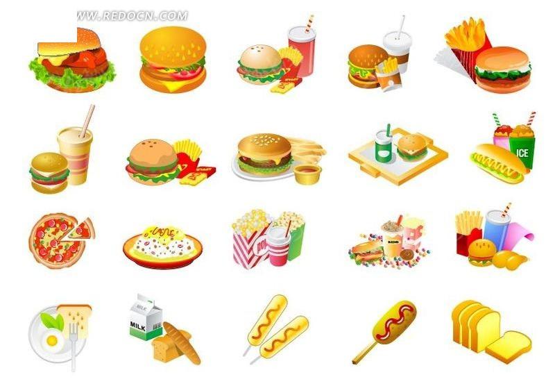 汉堡 热狗 香肠 可乐 薯条 快餐 比萨 餐饮美食 生活百科 矢量素材